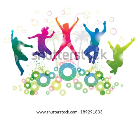 Young people on holiday. Detailed  silhouettes of dancing teenagers. Concept background. - stock vector