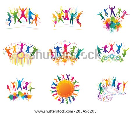 Young people on the party. The dancing teenagers. - stock vector