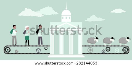 Young people riding a conveyor belt to the university building, from the other side seep in graduation caps coming out of it, vector illustration, no transparencies, EPS 8 - stock vector
