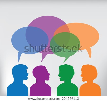 Young People with speech bubbles in a debate or sharing ideas. EPS 10 - stock vector