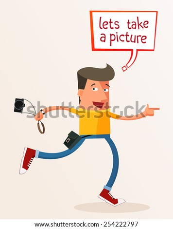 young photographer give an advice take a picture - stock vector