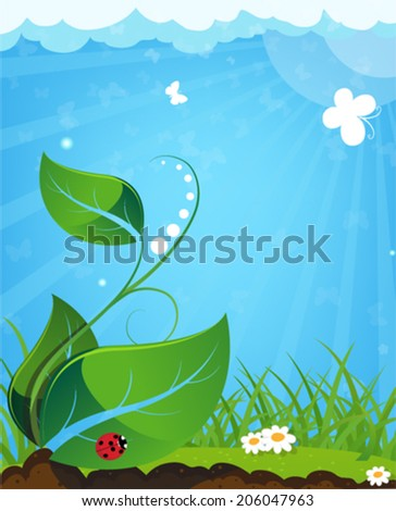 Young plant and ladybug on a sunny meadow - stock vector
