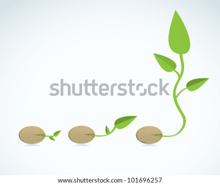 Young plant life process - stock vector