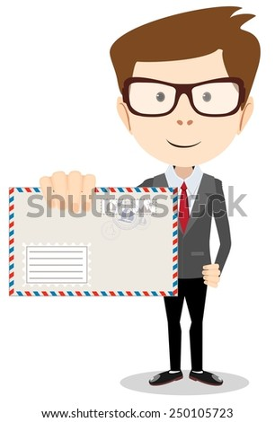 Young Postman brought you a letter, vector illustration - stock vector