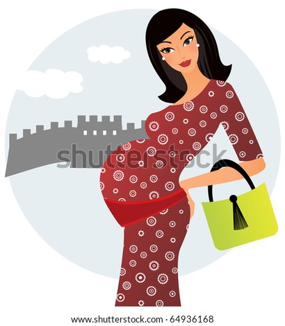 Young pregnant woman in China - stock vector
