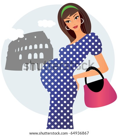 Young pregnant woman posing in front of colosseum in Rome - stock vector