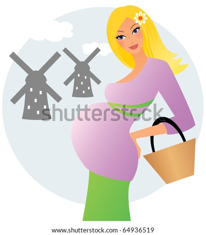 Young pregnant woman posing in front of dutch mills - stock vector