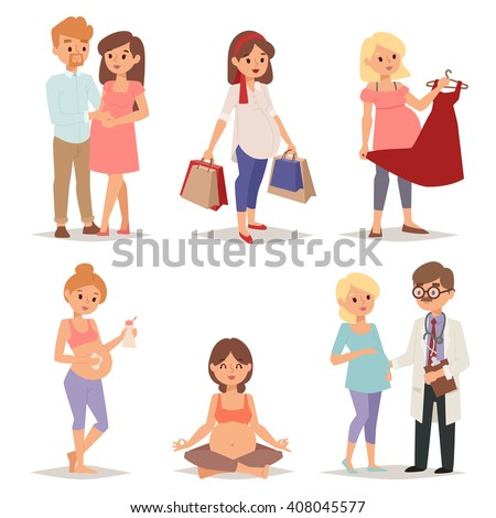 Young pregnant woman, pregnancy female belly expecting beautiful future mother character vector set. Pregnant woman set and pregnant women lifestyle happy mathernity woman. Love parent motherhood. - stock vector