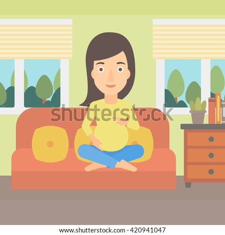 Young pregnant woman sitting on the couch, beautiful pregnant woman character flat vector illustration. Pregnant woman at home. Happy and smiley paternity woman. Happy maternity leave. - stock vector