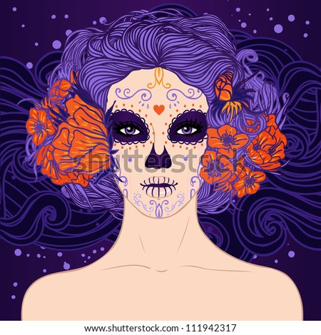 Young pretty Mexican Sugar Skull girl with flowers in her hair and scary makeup for Day of the Dead (Dia de los Muertos) or Halloween . - stock vector