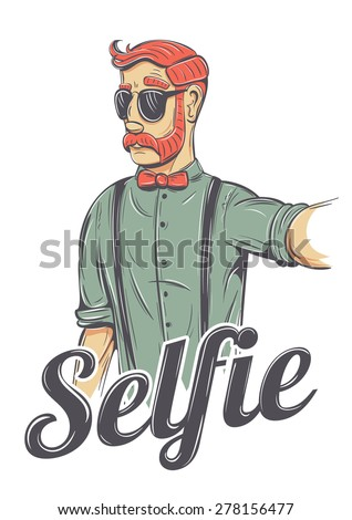 Young redhead man making a selfie vector illustration. Chic hipster in sunglasses, bow tie, he has mutton chops style mustache and a cool look. - stock vector