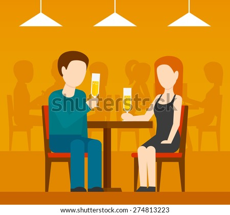 Young romantic couple sitting at the table drinking champagne date in restaurant with people silhouettes on background flat vector illustration - stock vector