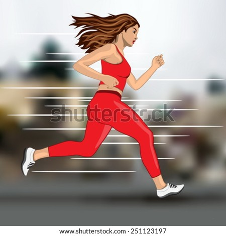 young running woman on blur city background - stock vector