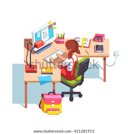 Young school kid girl studying sitting in front of desktop computer at her home desk. Doing homework at home table. Flat style color modern vector illustration. - stock vector