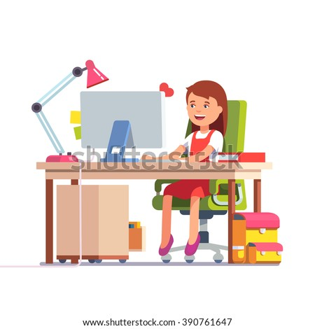 Young school kid girl studying sitting in front of the desktop computer at her home desk. Flat style color modern vector illustration. - stock vector