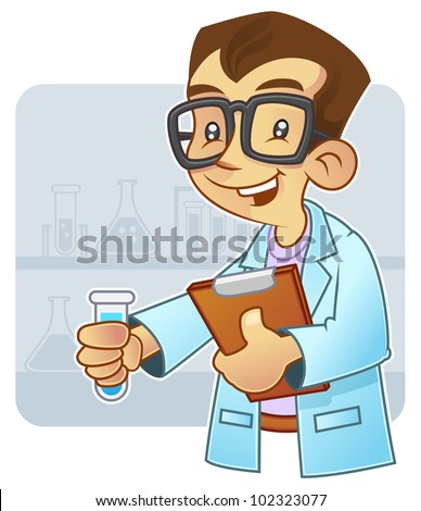 Young scientist doing an experiment in laboratory - stock vector