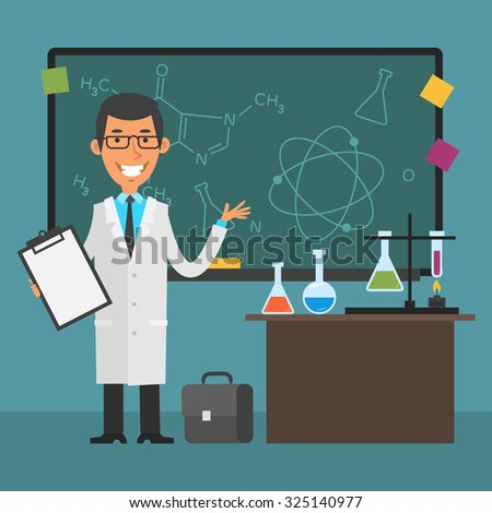 Young scientist points to chalkboard and smiling - stock vector