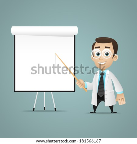 Young scientists points on flipchart - stock vector