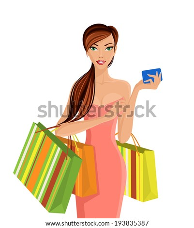 Young sexy attractive woman with shopping bags and smartphone vector illustration - stock vector