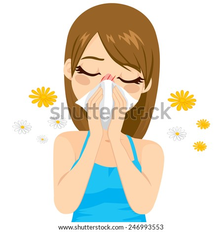 Young sick woman ill suffering spring allergy using tissue on nose - stock vector