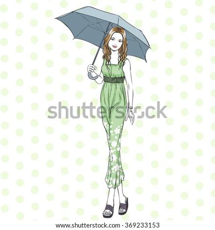 Young slim beautiful girl stands under umbrella in elegant summer dress. Line art vector, hand drawing cartoon. - stock vector