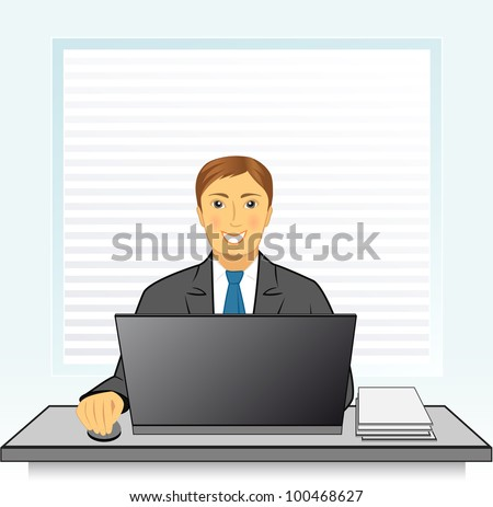 Young smiling businessman with laptop in office behind a desk - stock vector