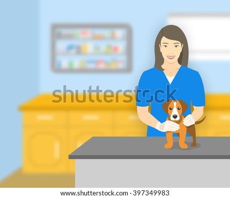 Young smiling woman veterinarian holding a dog at a table in veterinary office. Vector flat illustration. Pets health care horizontal banner. Cartoon concept - stock vector
