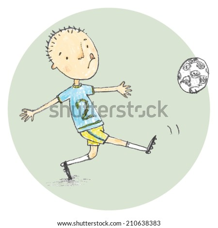 Young Soccer Football Player Vector Illustration on Green Background - stock vector
