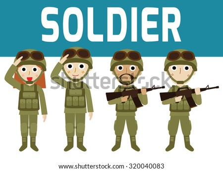 young soldiers. men and woman. flat cartoon character design isolated on white background. - stock vector