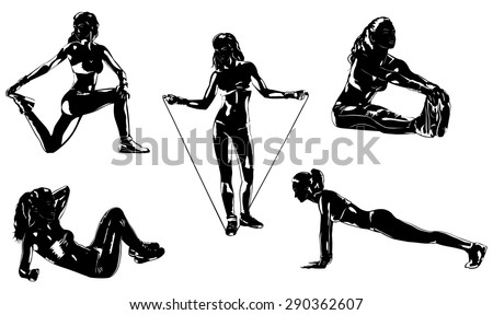 Young sports woman five silhouettes on white background. - stock vector