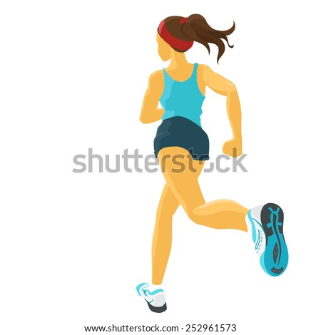 Young sporty girl takes sports/ Running / Jogging. Back view. Isolated color vector image. - stock vector