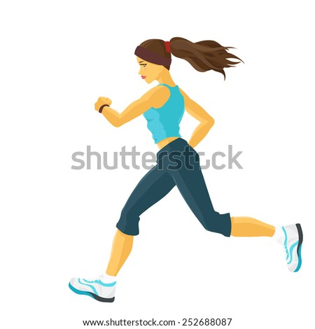 Young sporty girl takes sports/ Running / Jogging. Profile view. Isolated color vector image. - stock vector
