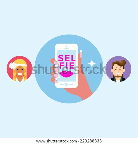 Young stylish colourful french manicure girl taking self photo send to boy from phone mobile camera with flash. Selfie with pink red lipstick kiss. Vector illustration - stock vector
