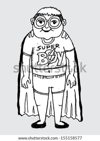 Young super hero boy cartoon and vector character - stock vector