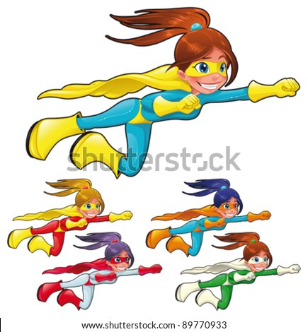 Young superheroes. Funny cartoon and vector characters. Isolated objects - stock vector