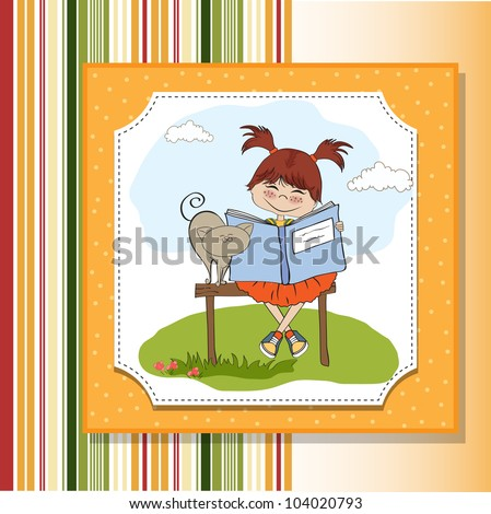 young sweet girl reading a book - stock vector