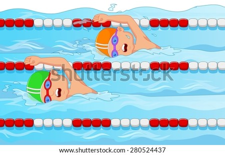 Young swimmer in the swimming pool - stock vector
