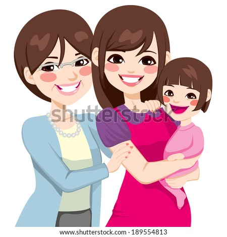 Young three generation family japanese women happy smiling together - stock vector