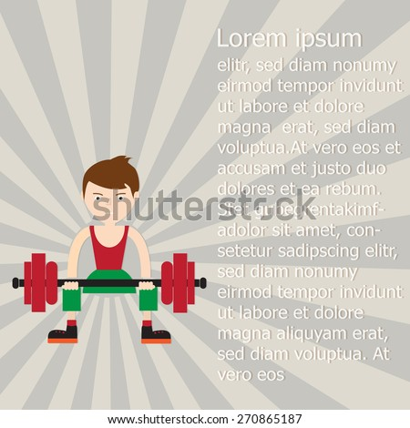 young weight lifter, Vector EPS 10.  - stock vector