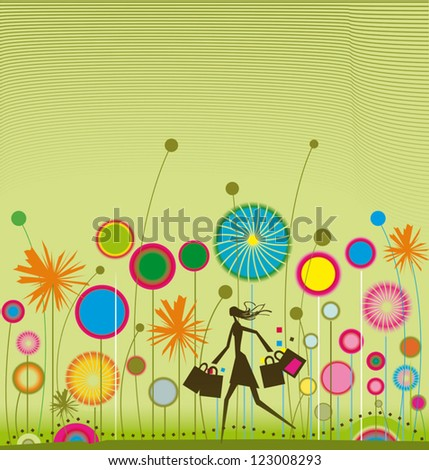 Young with multicolor shopping bags walking through a colorful landscape - stock vector