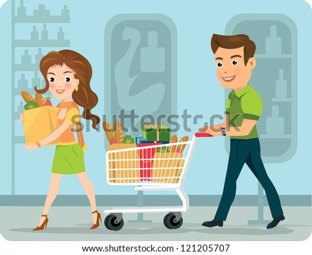 Young woman and man shopping for groceries - stock vector