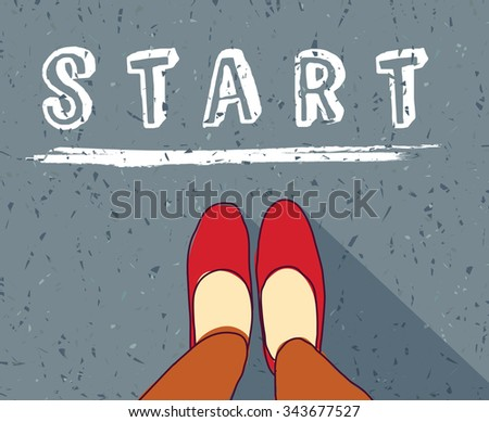 Young woman begin way start line new life. Woman standing  on the road. Color vector illustration. EPS8 - stock vector