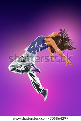 Young woman dancer. On wall background. - stock vector