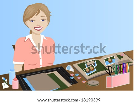 Young woman doing scrapbooking and/or paper crafts. - stock vector