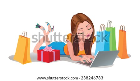Young woman doing shopping on the Internet, lying on the floor - stock vector