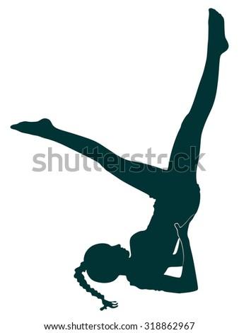 Young woman doing Yoga exercises, sarvangasana - stock vector