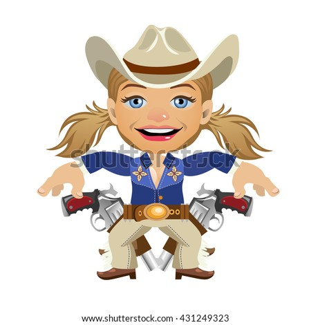 Young woman dressed as a cowboy, armed and dangerous. Vector illustration. - stock vector