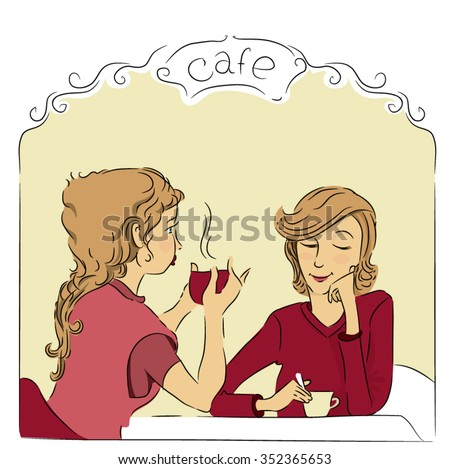 Young woman enjoying coffee in a restaurant - stock vector