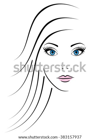 Young woman face with blue eyes on white background, vector illustration. - stock vector