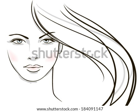 Young woman face with long blond hair  - stock vector